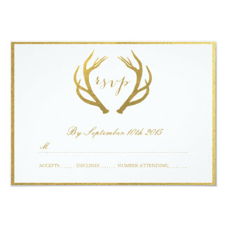 CHIC GOLD   RUSTIC ANTLERS RSVP CARDS 9 CM X 13 CM INVITATION CARD