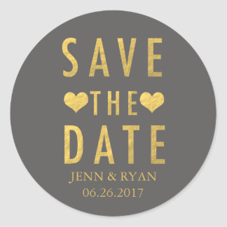 CHIC GOLD SAVE THE DATE CLASSIC ROUND STICKER