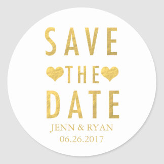 CHIC GOLD SAVE THE DATE ROUND STICKER