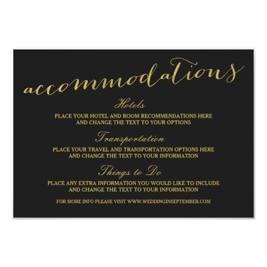 Chic Gold Script Accommodations Card