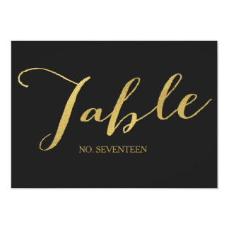 Chic Gold Script Table Number Cards 13 Cm X 18 Cm Invitation Card