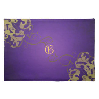 Chic Gold Scroll Purple Monogram Placemats