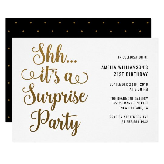 Chic Gold Shh It's a Surprise Party Typography