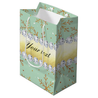 Chic Gold Snowflakes and Diamonds Pale Green Medium Gift Bag