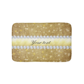Chic Gold Sparkling Stars and Diamonds Bath Mat