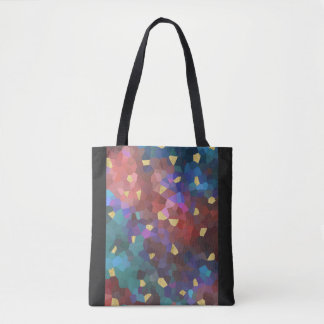Chic Gold Teal Blue Purple Geometric Design Tote Bag