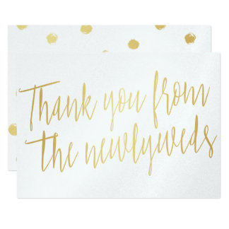 """Chic Gold """"Thank you from the newlyweds"""" Card"""