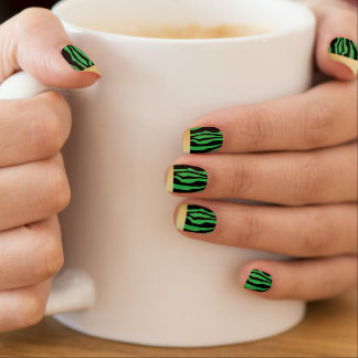 Chic Gold Tipped Green Zebra Print Nails Minx Nail Art