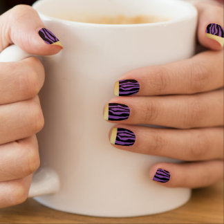 Chic Gold Tipped Purple Zebra Print Nails Minx Nail Art