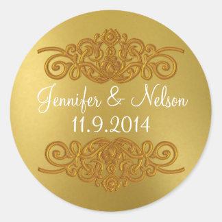 Chic Gold Tone Wedding Envelope Seal Round Sticker