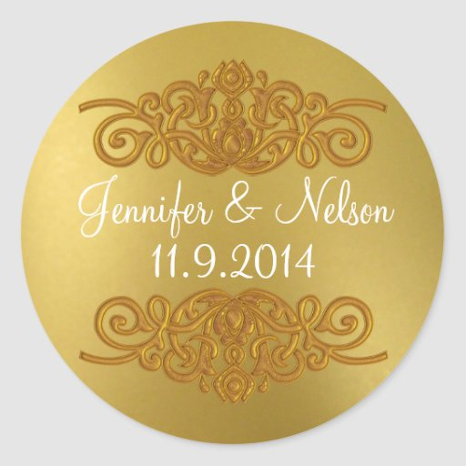 Chic Gold Tone Wedding Envelope Seal Round Stickers