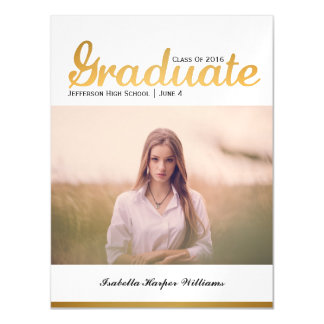 Chic Gold Trendy Graduation Photo Class of 2016 Magnetic Invitations