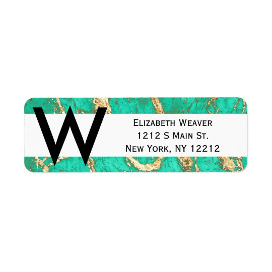 Chic Gold Turquoise Marble Pattern Return Address Label