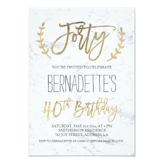 Chic gold typography white marble 40th Birthday Card