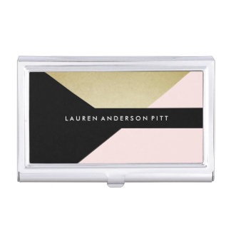 Chic Gold Watercolor Brush Business Card Holder