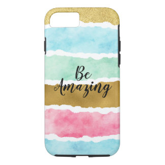 Chic Gold Watercolor Stripes Be Amazing iPhone 8/7 Case