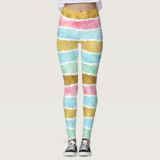 Chic Gold Watercolor Stripes Leggings