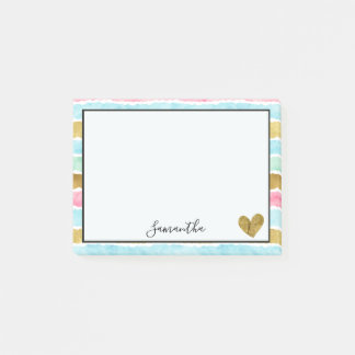 Chic Gold Watercolor Stripes Post-it Notes