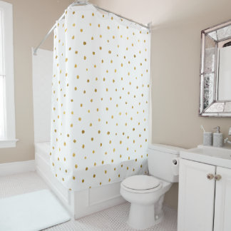 Chic Gold White Dots Shower Curtain