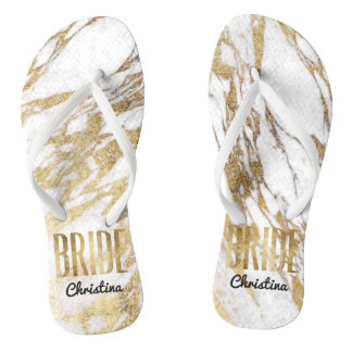 Chic Gold White Marble Bride Wedding Bachelorette Flip Flops