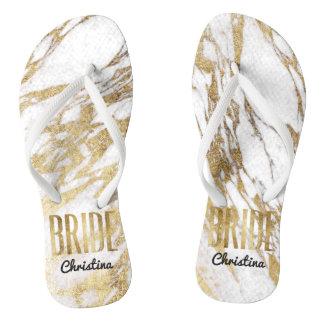 Chic Gold White Marble Bride Wedding Bachelorette Flip Flops