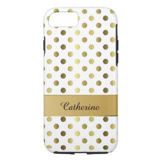 Chic Gold & White Polka Dot iPhone 7 case
