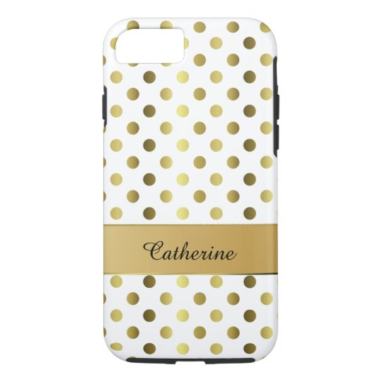 Chic Gold & White Polka Dot iPhone 7