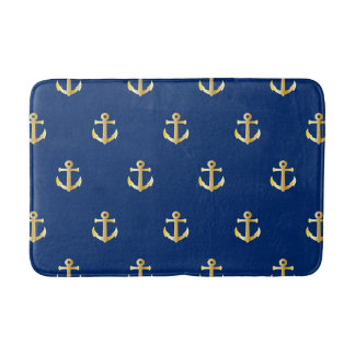 Chic Gold Yellow Colored Nautical Anchors Pattern Bath Mat