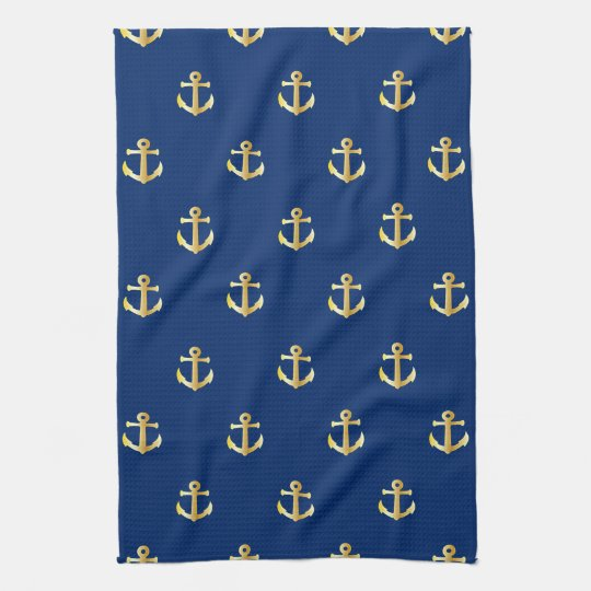 Chic Gold Yellow Coloured Nautical Anchors Pattern Tea