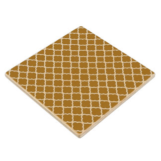 Chic Golden Brown Quatrefoil Maroccan Pattern Wood Coaster