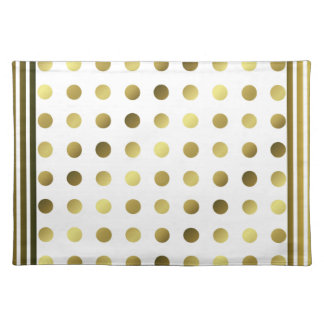 Chic Golden Polka Dots and Stripes Place Mat