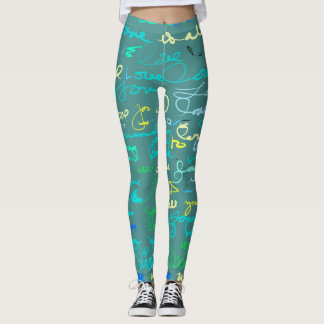 Chic Graffiti Style Love Grunge Pattern on Teal Leggings
