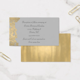 Chic Gray and Gold Wedding Information Card