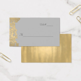 Chic Gray and Gold Wedding Place Card