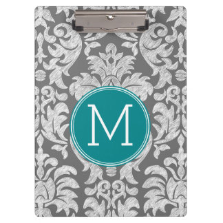Chic Gray and Teal Damask Pattern Custom Monogram Clipboard