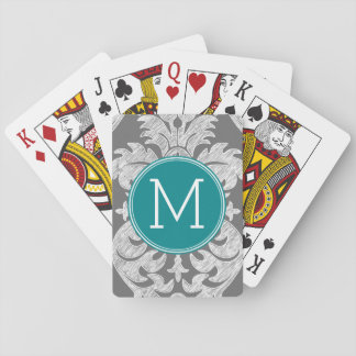 Chic Gray and Teal Damask Pattern Custom Monogram Playing Cards