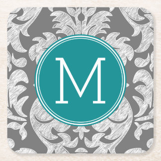 Chic Gray and Teal Damask Pattern Custom Monogram Square Paper Coaster