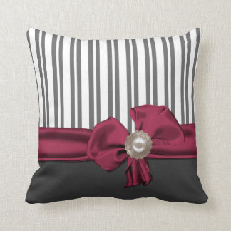Chic Gray and White Striped Pillow
