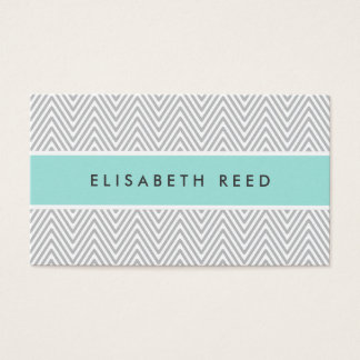 Chic gray chevrons aqua blue professional profile business card