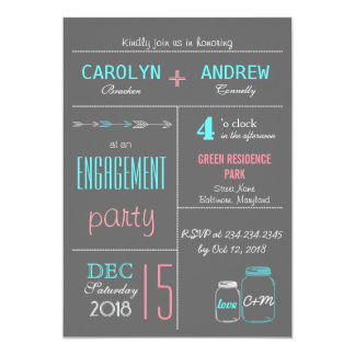 Chic Gray   Pink   Blue MasonJar Engagement Party 13 Cm X 18 Cm Invitation Card
