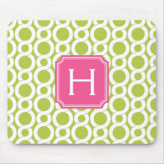 Chic green abstract geometric pattern monogram mousepads