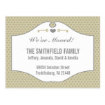 Chic Green and Slate Quatrefoil Moving Postcards