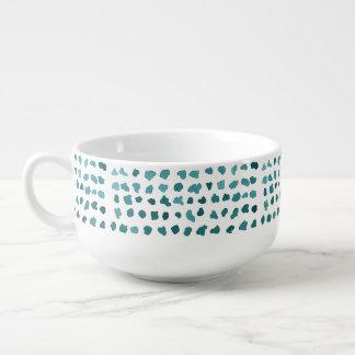Chic Green and White Watercolor Dots Soup Mug