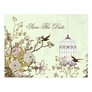 Chic green bird cage, love birds save the dates postcard
