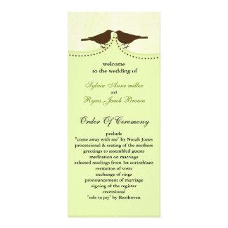Chic green bird cage, love birds wedding programs rack card