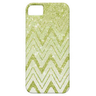 Chic Green Glitter Gradient Chevron Pattern Barely There iPhone 5 Case