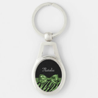 Chic Green Glitter Zebra Print Luxe Bow With Name Silver-Colored Oval Keychain