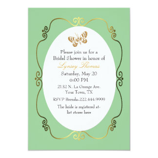 Chic Green & Gold Custom Bridal Shower Announcements
