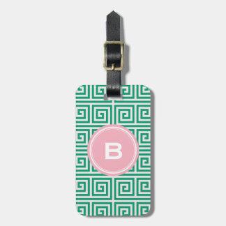 Chic green greek key geometric patterns monogram luggage tag