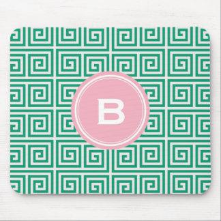 Chic green greek key geometric patterns monogram mousepad